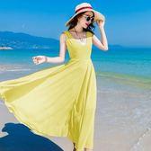 現貨黃色M沙灘裙27709實拍度假裙雪紡連衣裙紅色夏季女長裙高腰寬鬆韓版V領
