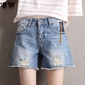 牛仔短褲女夏2020春夏韓版學生高腰破洞寬鬆bf毛邊不規則闊腿熱褲