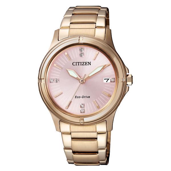 CITIZEN Eco-Drive 玫野佳麗晶鑽時尚腕錶-FE6053-57W