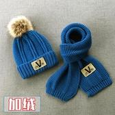 兒童毛線帽子圍巾兩件套裝加絨寶寶秋冬季男童潮男孩大童韓版冬天