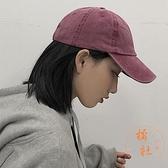 鴨舌帽軟頂百搭做舊水洗純色棒球帽休閒秋冬【橘社小鎮】