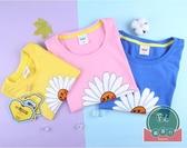 母子女t恤韓版夏親子裝小雛菊一家三四口短袖【聚可爱】