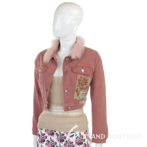 BLUGIRL 粉紅色毛領單寧外套 0550071-05