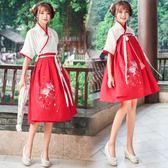 漢服女春夏季日常改良古裝漢元素學生刺繡中國風半臂民族復古交領 快速出貨