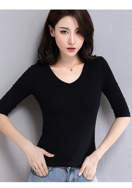 T629# 交叉領上衣女半袖套頭修身顯瘦韓版白色中袖V打底衫 &小咪的店&