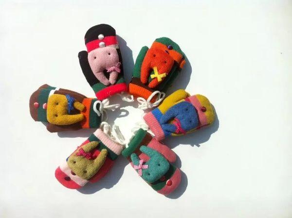 [韓風童品]秋冬保暖兒童手套  卡通造型寶寶手套   男女童冬款針織掛脖手套