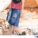 《KG1098-》高含棉率性割破水洗牛仔五分褲 OB嚴選