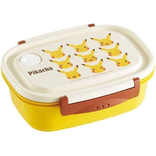 小禮堂 神奇寶貝 日製 方形雙扣輕量微波便當盒 塑膠便當盒 保鮮盒 720ml (米黃 大臉) 4973307-49875