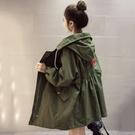 大碼風衣女長袖春秋韓版中長款bf寬鬆百搭外衣服學生連帽流行外套 聖誕節全館免運