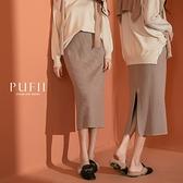 現貨◆PUFII-中長裙 直坑條開衩針織中長裙-1103 秋【CP19068】