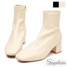 襪靴 車線柔軟拉鍊方頭中跟靴-米皮