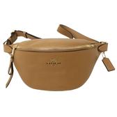 【COACH】立體LOGO牛皮時尚腰包/胸前包(奶茶色)