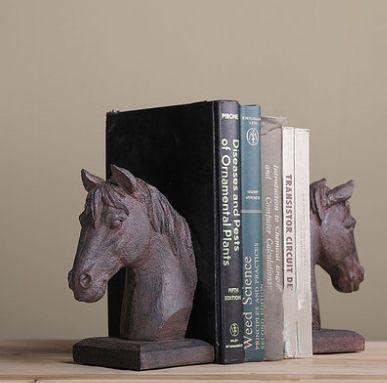 美式創意書靠 馬頭裝飾品辦公室書房工藝品書立書擋擺設 馬頭擺件- isac008