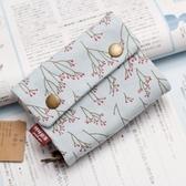 短款皮夾 帆布布藝錢包女短款ins簡約森系學生韓版可愛小清新零錢鑰匙卡包