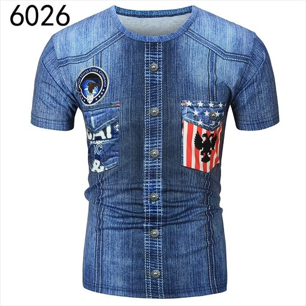 找到自己 MD 韓國 休閒 時尚 男 圓領套頭 複古牛仔色後背3D印花 短袖T恤 圖案T 特色短T 組合款