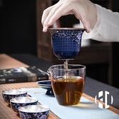 便攜包式鎏銀旅行茶具套裝青花瓷快客杯一壺三杯茶壺戶外車載旅【Kacey Devlin】