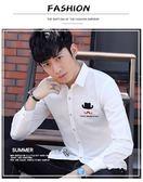 白襯衫男士長袖休閒純色薄款修身商務青年襯衣男潮流正 糖果時尚