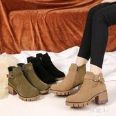 大碼粗跟短靴 馬丁靴女英倫風復古學生韓版百搭網紅粗跟平底鞋短靴子潮 qf15956【科炫3c】