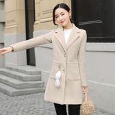 毛呢外套女中長款韓版2019新款修身顯瘦冬小個子氣質呢子大衣夾棉毛呢外套伊人閣