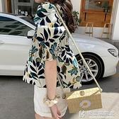 女士短款襯衫設計感小眾方領鎖骨碎花上衣夏短袖娃娃衫韓版泡泡袖快意購物網