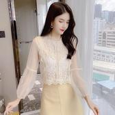 蕾絲拼接 網紗蕾絲上衣女秋裝2020年新款韓版顯瘦燈籠長袖百搭洋氣短款小衫-米蘭街頭