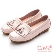 G.Ms.*MIT系列-極好穿軟Q牛皮流蘇莫卡辛鞋*淡粉