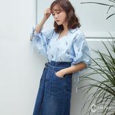 CANTWO直條花型綁袖襯衫-共兩色~春夏新品單一特價