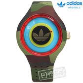 adidas 愛迪達 / ADH3056 / Originals 多層次雙層時標矽膠腕錶 黑金x迷彩 41mm