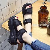 涼鞋女  厚底涼鞋女夏季新款韓版百搭增高搖搖鞋高跟防水臺休閑鬆糕鞋·夏茉生活