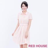 【RED HOUSE 蕾赫斯】透膚格子開釦短袖洋裝(粉色)-單一特價