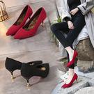 高跟鞋尖頭女細跟中跟單鞋保暖低跟女鞋冬季加絨紅色婚鞋貓跟鞋女 【新品熱賣】