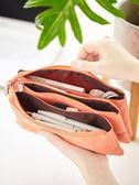 筆袋 創意初高中生大學生三層大容量拉鏈筆袋 簡約帆布多功能鉛筆盒男女生可愛文具盒彩色