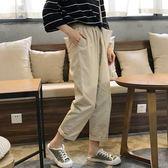 早秋韓版鬆緊腰學生休閒褲寬鬆復古工裝直筒休閒九分闊腿褲女