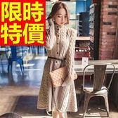 洋裝-高領多種穿搭保暖經典麻花顯瘦羊毛連身裙2色63c7【巴黎精品】