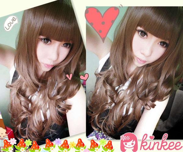 *╮Kinkee假髮╭*愛依示範 甜蜜蜜英式宮廷風極致美型耐熱長捲髮假髮【K0043】