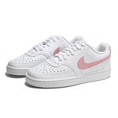 NIKE 休閒鞋 COURT VISION LOW 白 粉紅 皮革 板鞋 女 (布魯克林) CD5434-110