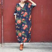短袖洋裝 圖騰 棉麻 V領 開衩 短袖洋裝 連身裙【CM0138】 BOBI  10/26