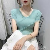 冰絲上衣 夏季緊身鎖骨v領t恤針織薄款上衣短款冰絲針織衫女短袖潮 7月熱賣