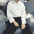 (全館一件免運)DE SHOP 學生寬鬆格子長袖襯衫 (YY-029)