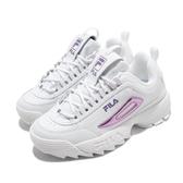 Fila 休閒鞋 Disruptor 2 白 紫 女鞋 老爹鞋 鋸齒鞋 厚底 增高 復古 運動鞋【ACS】 5C608U153
