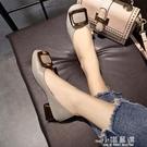 3cm粗跟低跟方頭奶奶鞋女春秋新款軟底瓢鞋復古豆豆鞋淺口單鞋女『小淇嚴選』