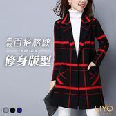 外套-LIYO理優-開襟翻領加厚雙層格紋保暖針織毛衣外套E848013