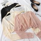 冰絲外套 防曬開衫女夏薄冰絲針織衫披肩外搭小清新空調衫上衣短款外套-Ballet朵朵