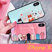 【萌萌噠】iPhone X (5.8吋) 可愛卡通貓咪貓爪保護殼 創意藍光 全包軟邊硬殼 手機殼 手機套