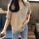 新款夏季上衣寬鬆韓版純棉竹節棉白色短袖t恤V領半袖女ins潮 伊衫風尚