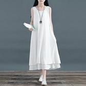 無袖洋裝 中國風無袖雙層裙子棉麻大擺裙亞麻長款打底連身裙文藝范背心長裙