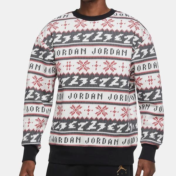 NIKE Jordan Holiday 男裝 長袖 棉質 針織 休閒 保暖 滿版 紅白黑【運動世界】CT3460-010