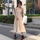 女裝韓版中長款木耳邊壓褶抹胸吊帶裙洋裝