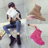 馬丁靴女英倫風粉色女靴子百搭單靴平底短靴-黑色地帶