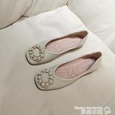 豆豆鞋 春平底方頭單鞋女淺口珍珠扣平跟軟底奶奶鞋仙女風軟皮上班豆豆鞋【618 購物】